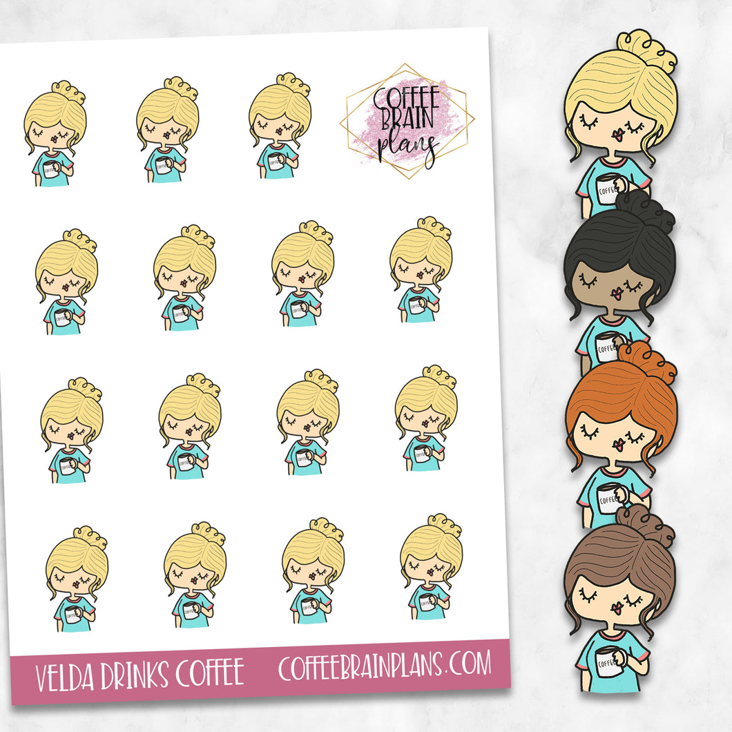 Velda Drinks Coffee Hand-Drawn Character Planner Stickers