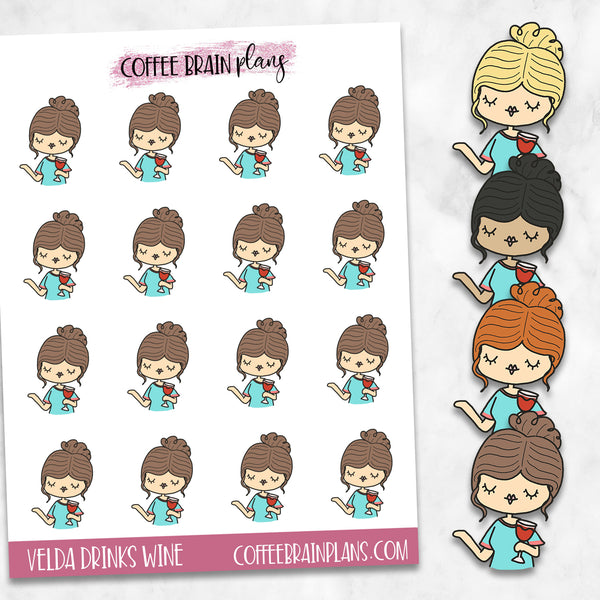 Velda Drinks Wine Hand-Drawn Character Planner Stickers