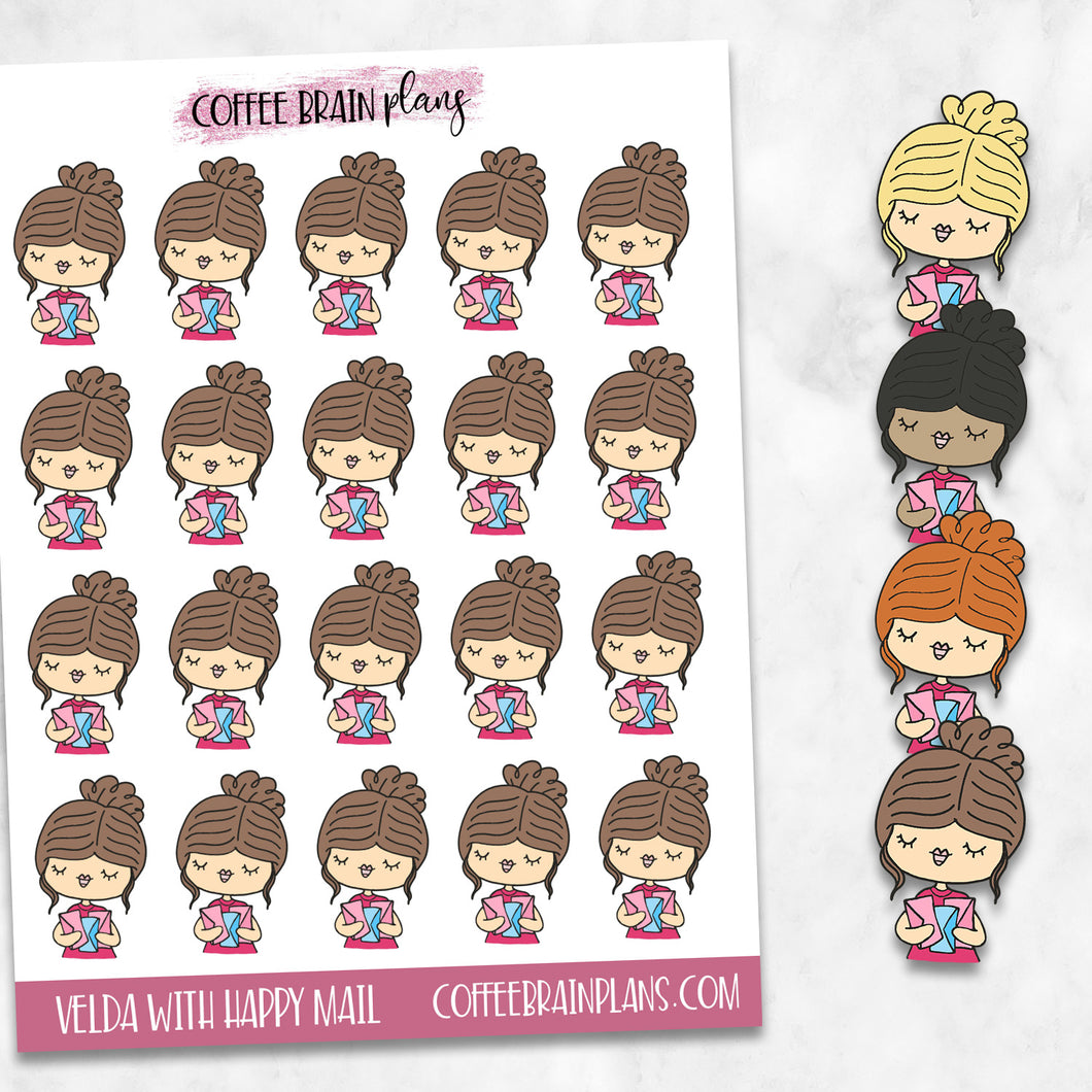 Velda Gets Happy Mail Hand-Drawn Character Planner Stickers