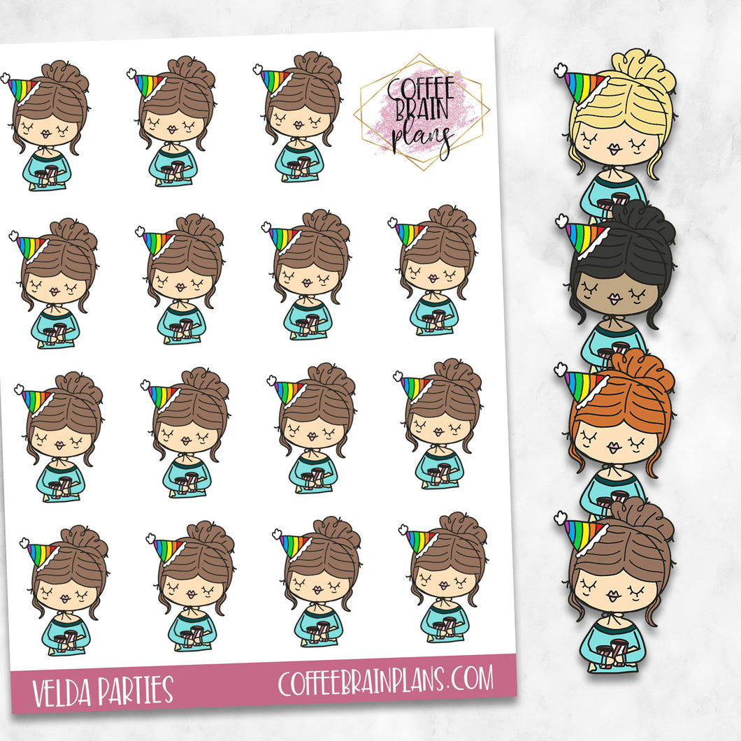 Velda at a Party Hand-Drawn Character Planner Stickers