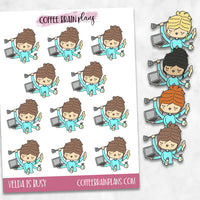 Velda is Busy Hand-Drawn Character Planner Stickers