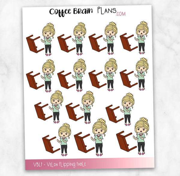 Velda Flipping Table Angry Hand-Drawn Character Planner Stickers