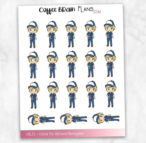 Victor the Mechanic / Handyman Hand-Drawn Male Character Planner Stickers