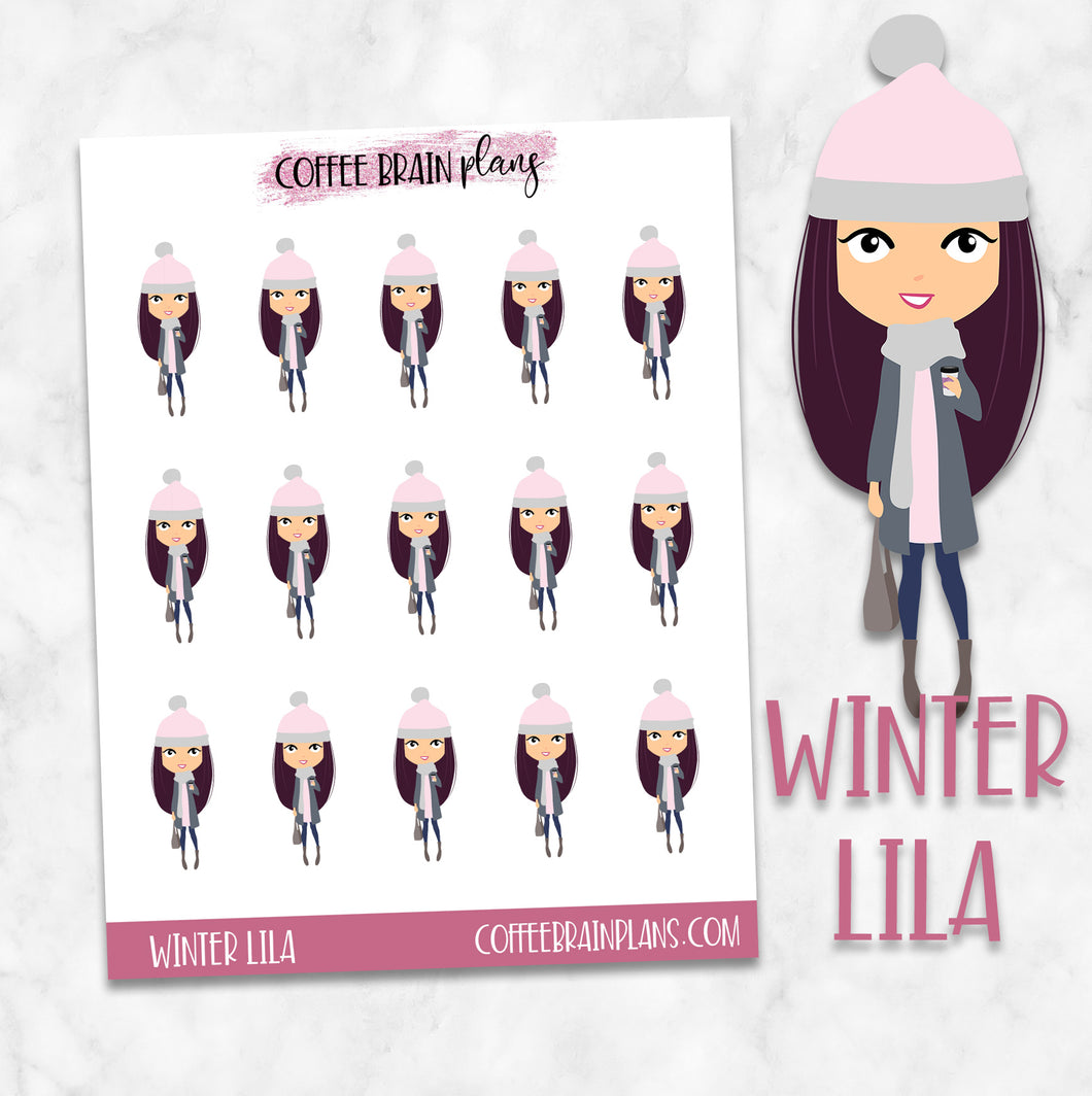 Winter Lila Character Planner Stickers