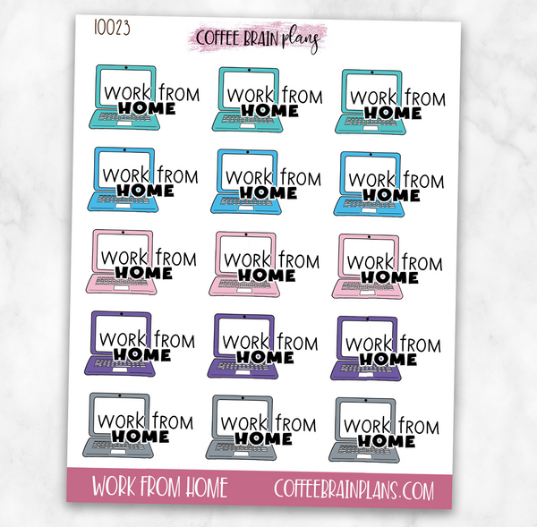 Work from Home Laptop Text Icons Planner Stickers
