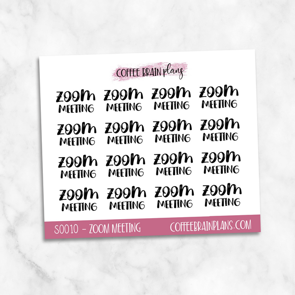 Zoom Meeting Toonie Scripts Mini Sheet Planner Stickers