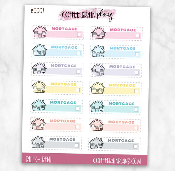 Rent / Mortgage Payment Boxes Bill Budget Planner Stickers