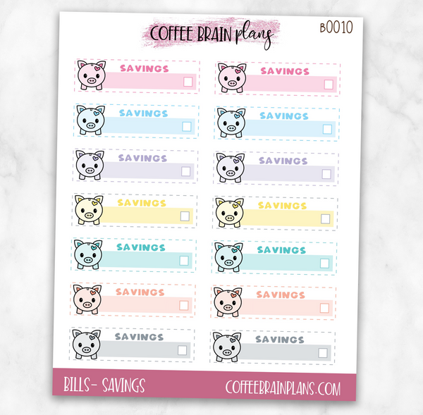 Savings Budget Bill Planner Stickers