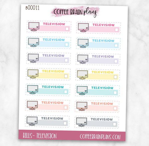 TV Television Budget Bill Planner Stickers
