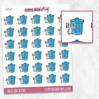 Blue Bin Trash Garbage Day Script Text Icons Planner Stickers