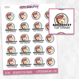 Breakfast for Dinner Food Meal Script Text Icons Planner Stickers