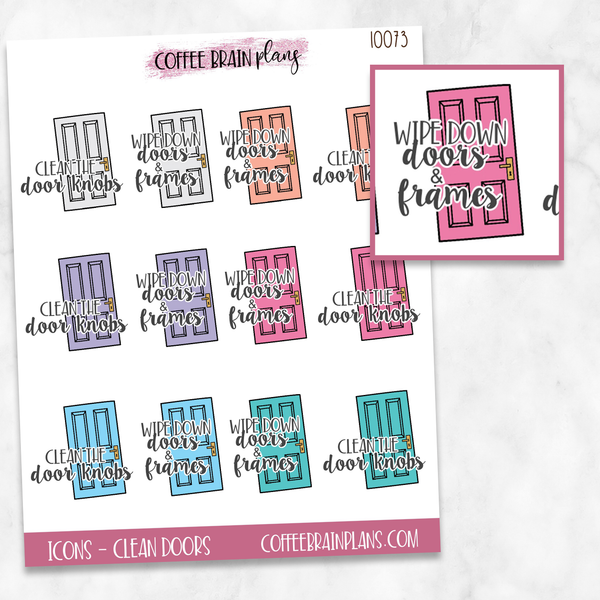 Clean Door Frames and Handles Script Text Icons Planner Stickers