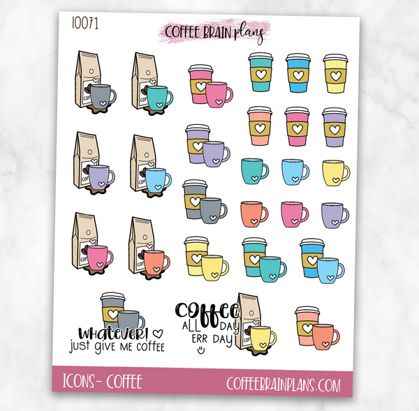 Coffee Lover Script Text Icons Planner Stickers