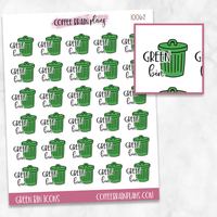 Green Bin Trash Garbage Day Script Text Icons Planner Stickers