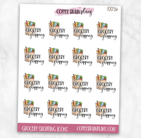 Grocery Shopping Script Text Icons Planner Stickers