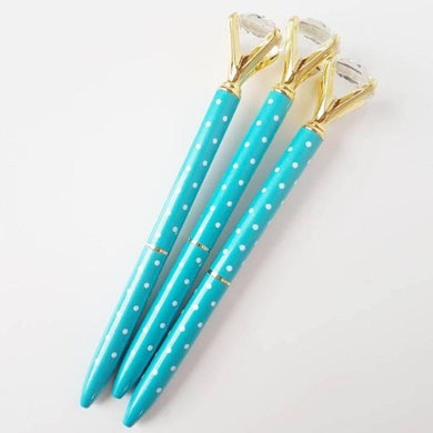 Turquoise Blue White Dots Gold Diamond Topped Ballpoint Pen