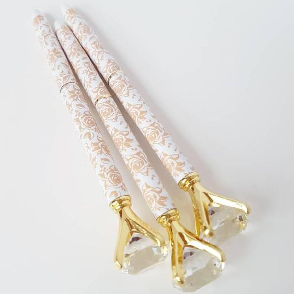 Floral Print White and Gold Diamond Topped Pen