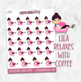 Lila Relaxes with Coffee Character Planner Stickers