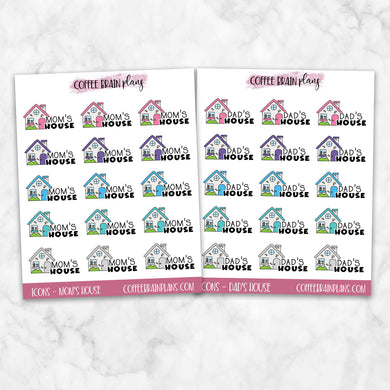Mom's House/ Dad's Icons Text Script Planner Stickers