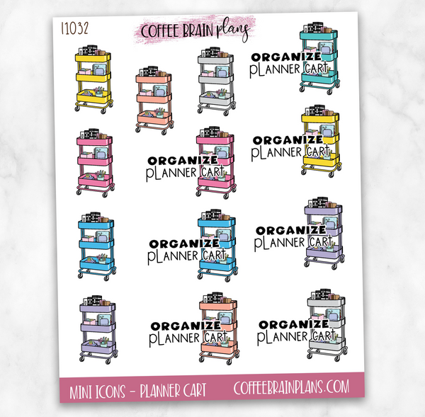 Organize Planner Cart Icons Script Text Planner Stickers