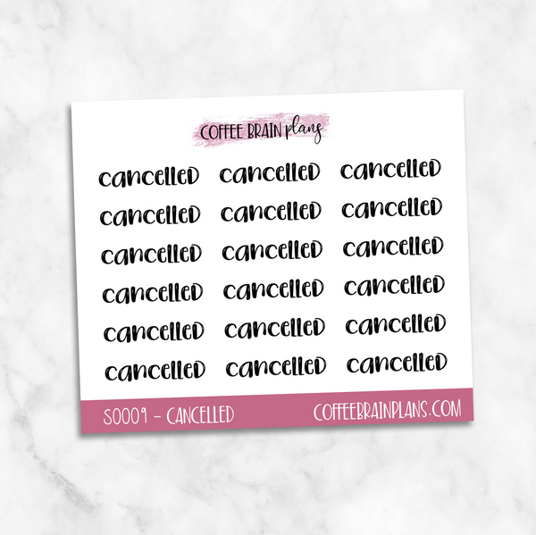 Cancelled Toonie Scripts Mini Sheet Planner Stickers