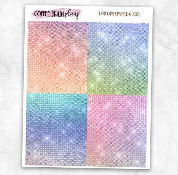 Unicorn Sparkle Glitter Headers Planner Stickers