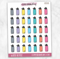 Water Bottles Fitness Icons Planner Stickers