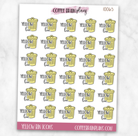 Yellow Bin Trash Garbage Day Script Text Icons Planner Stickers