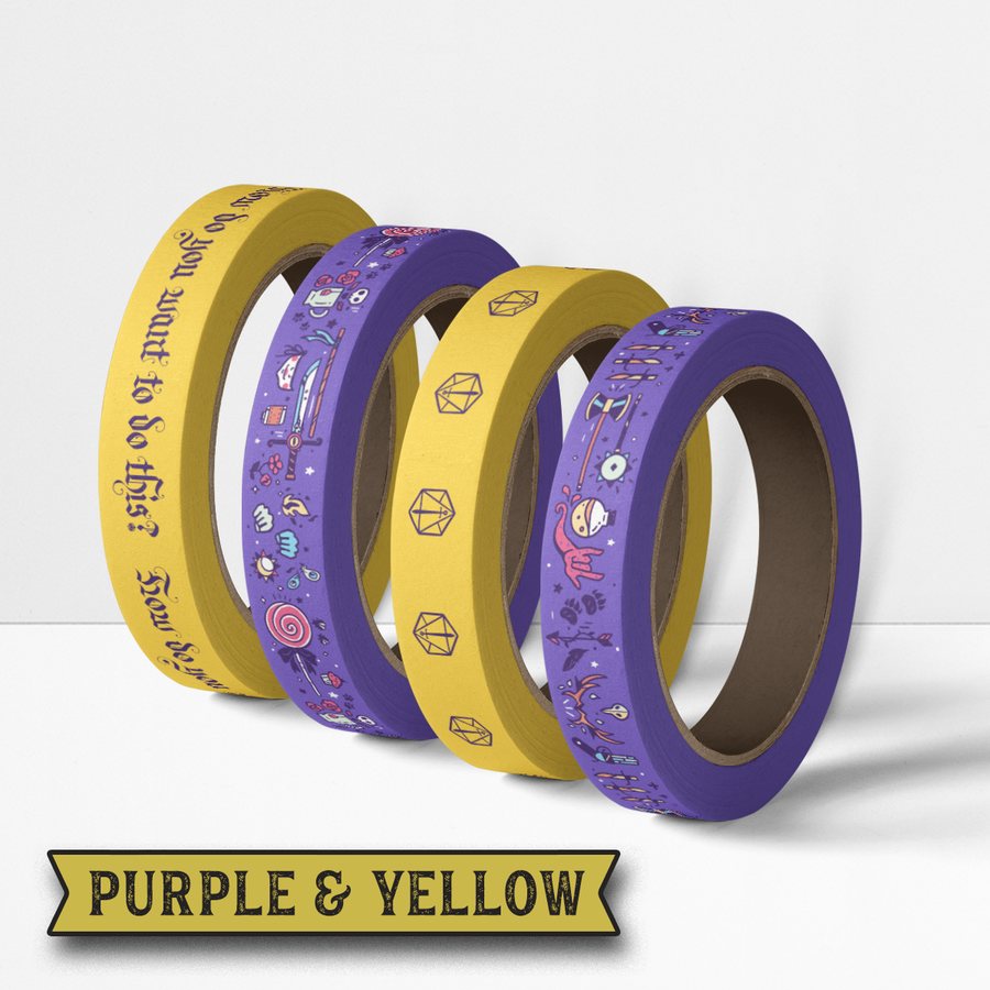 Critical Role Washi Tape 4 Pack: Purple & Yellow