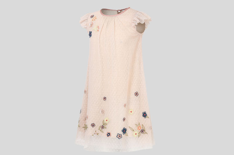 SP-19 Embroidered Dress Pink & Yellow