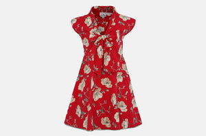 Red Floral Bow Dress Front View