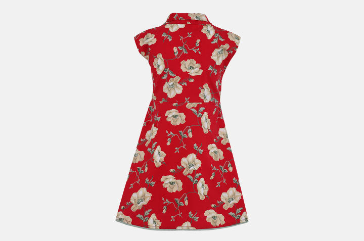 Red Floral Bow Dress from the back