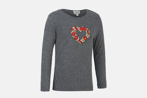Floral Heart Hand Embroidered Tee