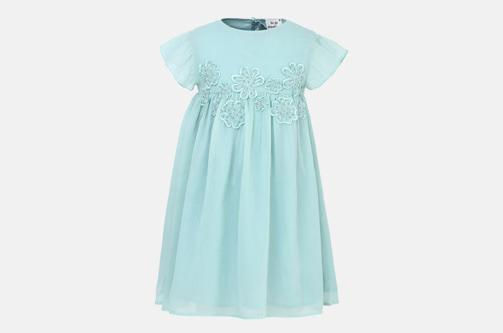 Poly Chiffon Flower Dress