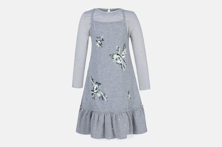 Striped Bird Dress Set