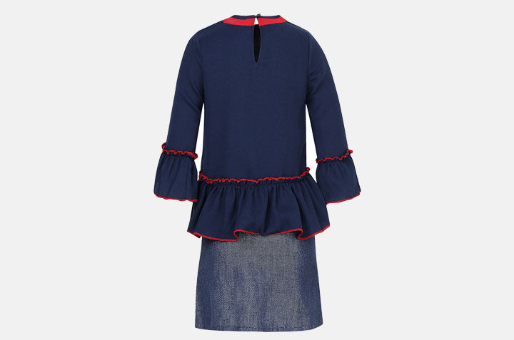 Blouse with Blues and Red Accents and Denim Skirt back
