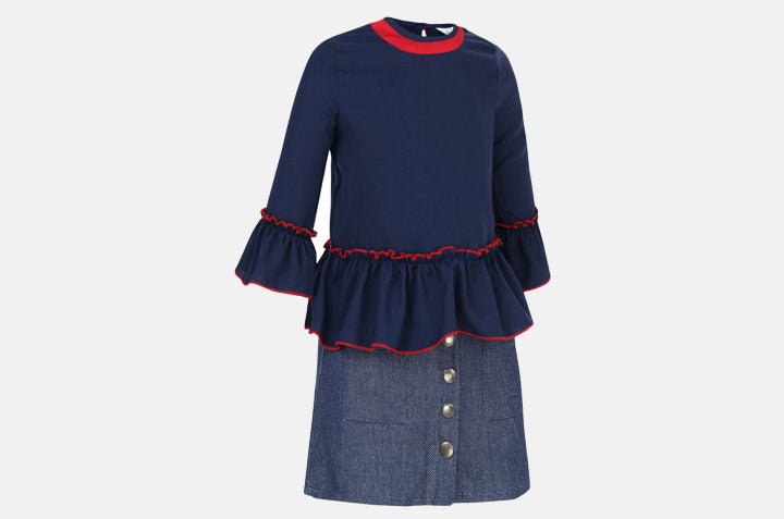 Blouse with Blues and Red Accents and Denim Skirt front