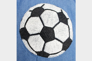Denim Shirt with Soccer Thread Embroidery.