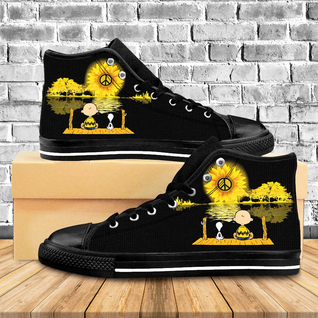 Peaceful Cartoon Character High Top Shoes