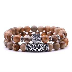 Couple Tiger Eye Stone Owl Bracelet