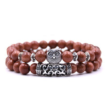Load image into Gallery viewer, Couple Tiger Eye Stone Owl Bracelet