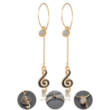 Load image into Gallery viewer, Music Note Long Drop Earrings