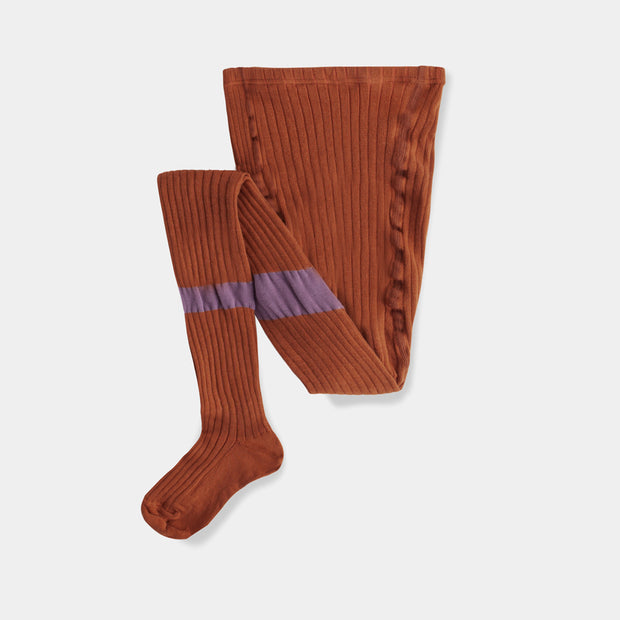 tights  caramel earthy lilac stripe