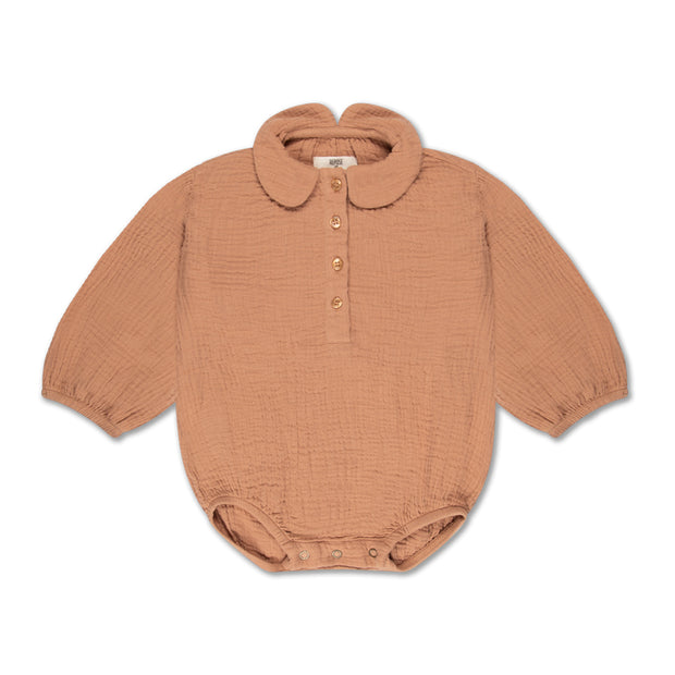 woven collar suit warm caramel