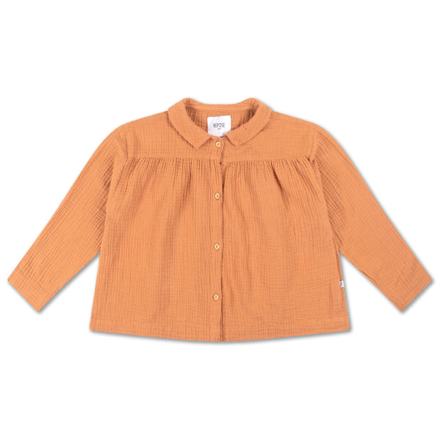 Collar blouse warm powder
