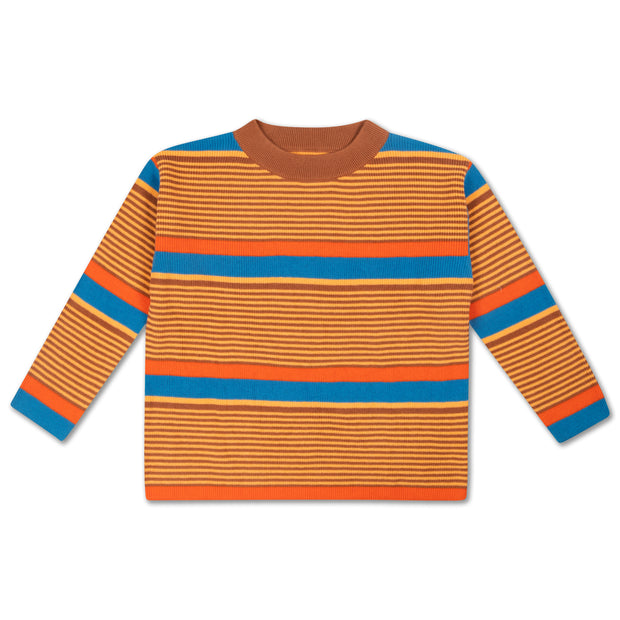 Boxy knit sweater bold stripe
