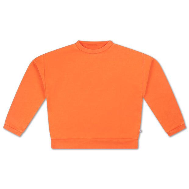 Crewneck sweater washed fiery red