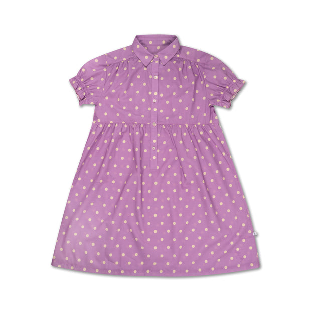 Dreamy dress greyish lavender polka dot