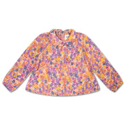 Round collar blouse scribble flower
