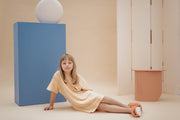 Tee shirt dress marigold sand block stripe